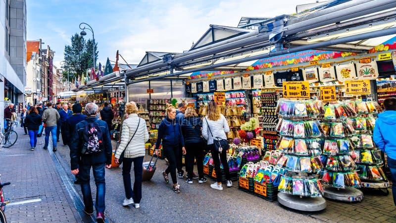 Mercado famoso de la flor de Bloemenmarkt en Amsterdam en el Netherland foto de archivo libre de regalías