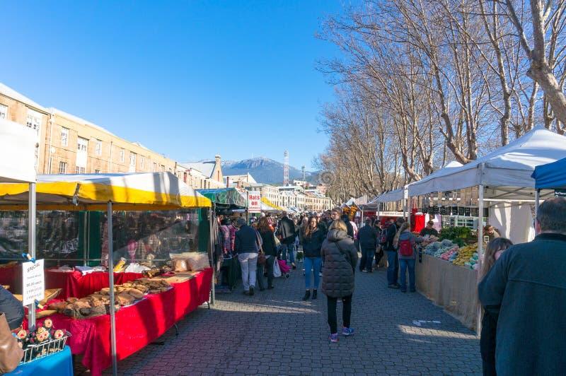 Mercado famoso dos fazendeiros de Salamanca em Hobart, Tasmânia imagens de stock royalty free