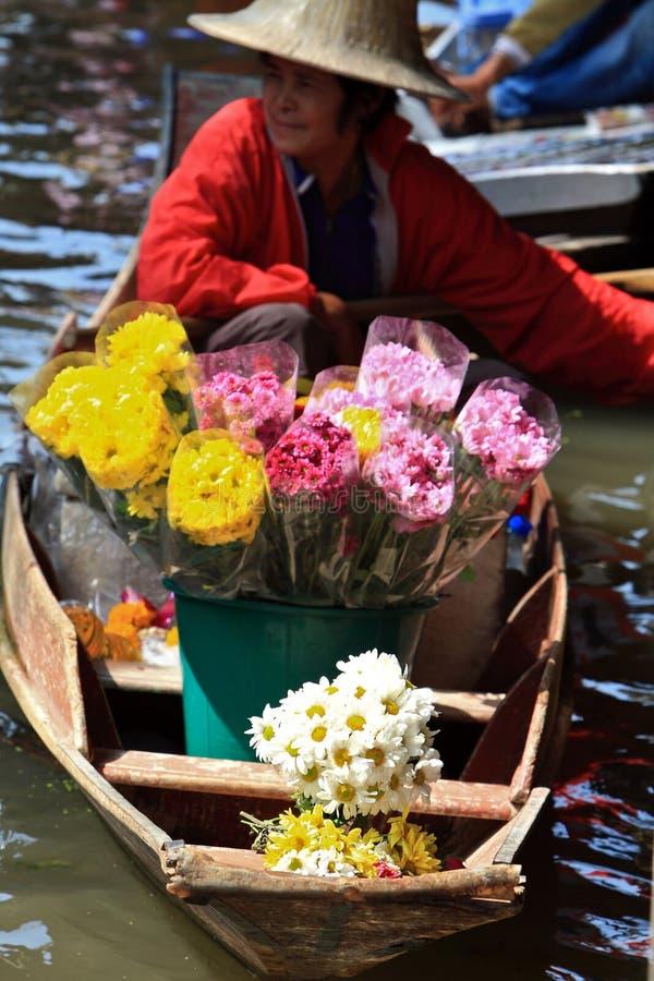 Mercado flotante, Tailandia imagen de archivo