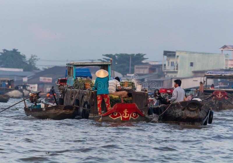 Mercado flotante Vietnam de Cai Rang fotografía de archivo