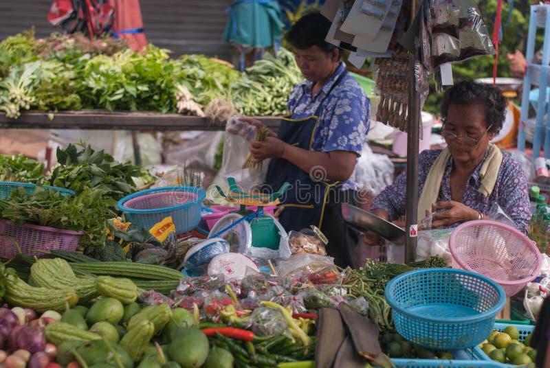 Mercado fresco asiático de la fruta y verdura imagen de archivo