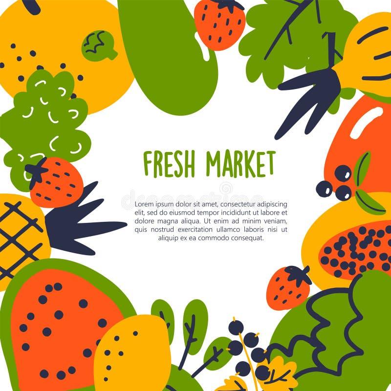 Mercado fresco Ejemplo de la historieta del vector de frutas y verduras con el espacio del texto Plantilla sana de la consumición libre illustration