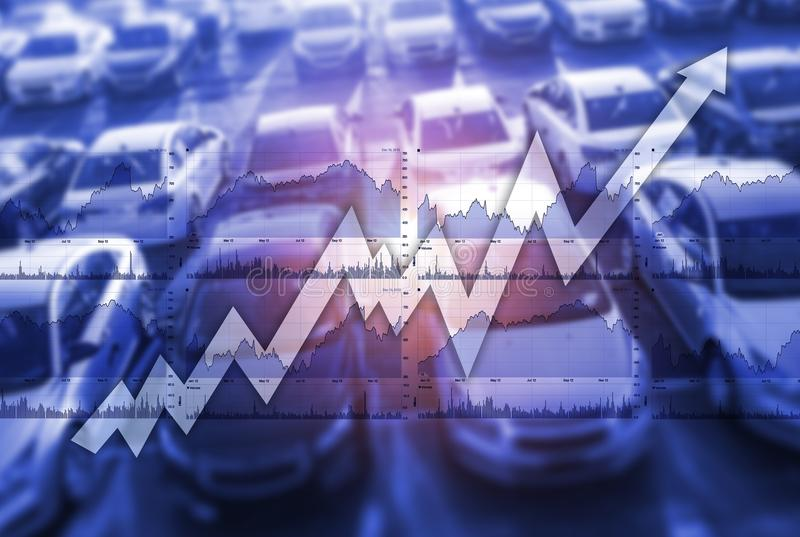 Mercado global das vendas do carro imagem de stock