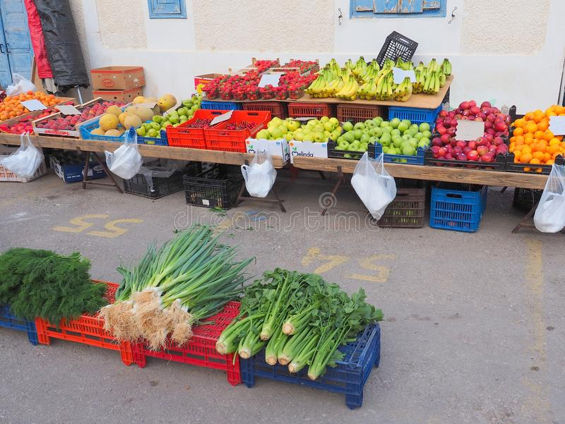 Mercado grego dos fazendeiros, produtos frescos fotografia de stock royalty free