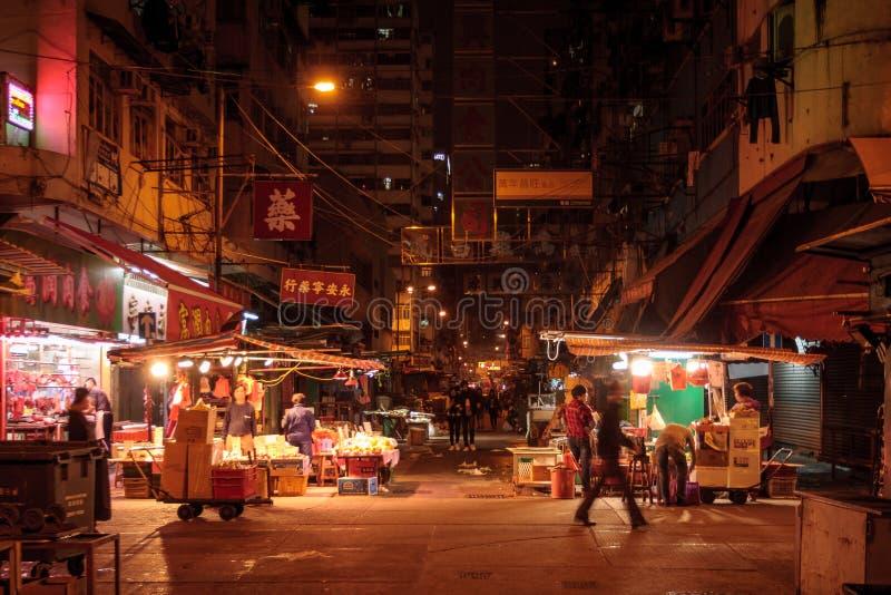 Mercado Hong Kong da noite fotos de stock