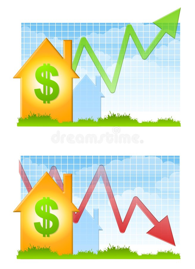 Mercado imobiliário acima e para baixo ilustração stock