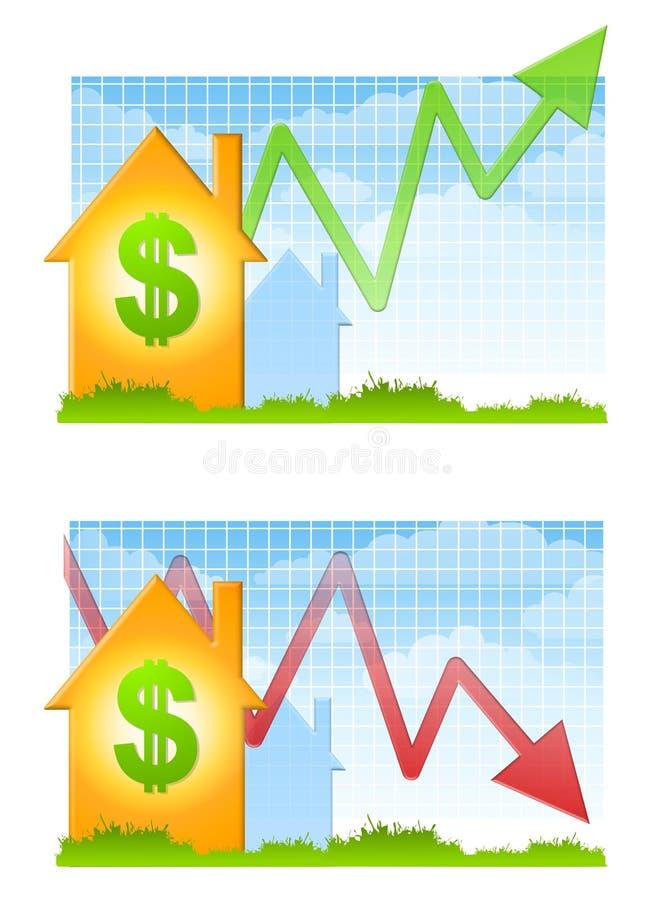 Mercado inmobiliario hacia arriba y hacia abajo stock de ilustración