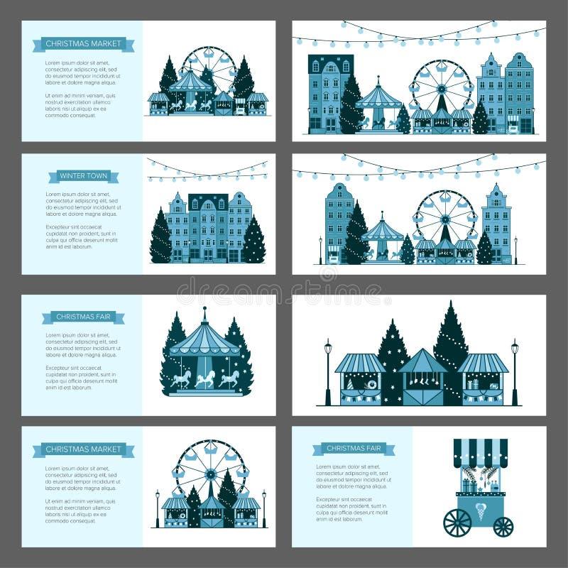 Mercado justo de la Navidad del invierno, Feliz Año Nuevo y ciudad de Europa de la Navidad, paradas del recuerdo, tiendas de rega libre illustration