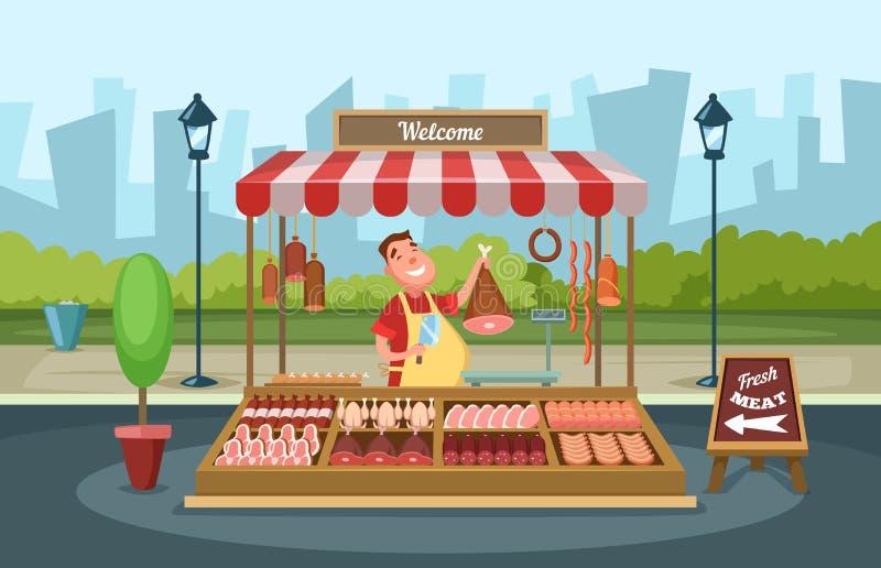 Mercado local com alimentos frescos Ilustrações do vetor no estilo dos desenhos animados ilustração do vetor