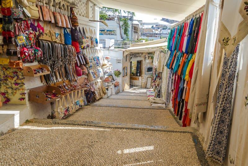 Mercado local da cidade de Lindos em Rhodes Island Rodos Aegean Region, foto de stock royalty free