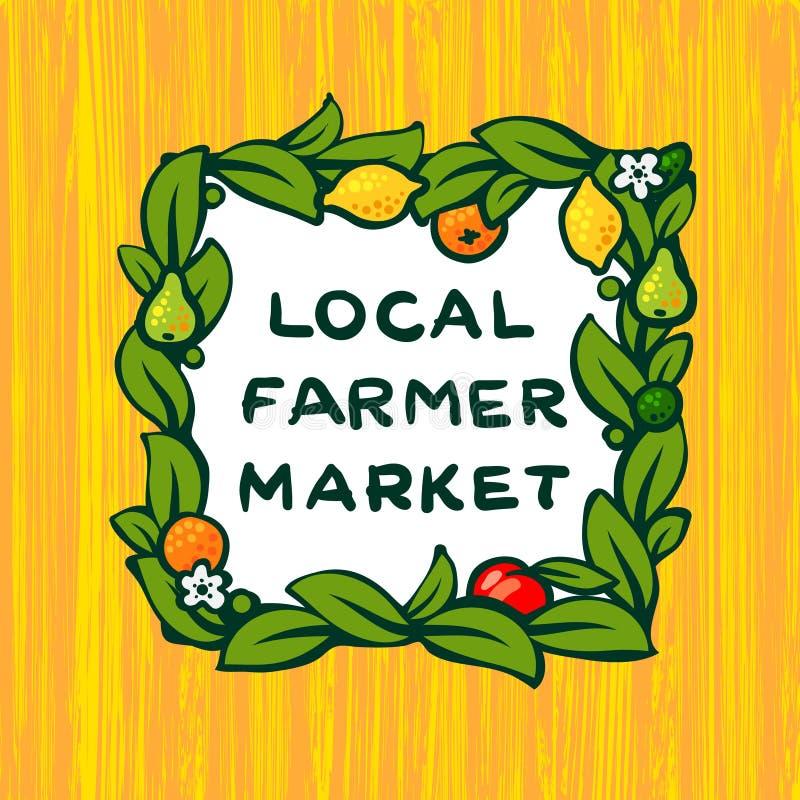 Mercado local del granjero, diseño del logotipo de la granja libre illustration