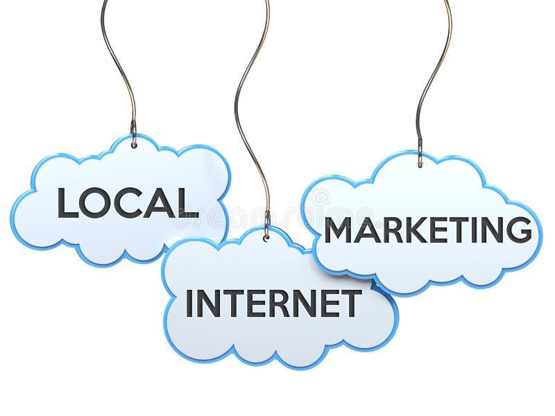 Mercado local do Internet na bandeira da nuvem ilustração stock