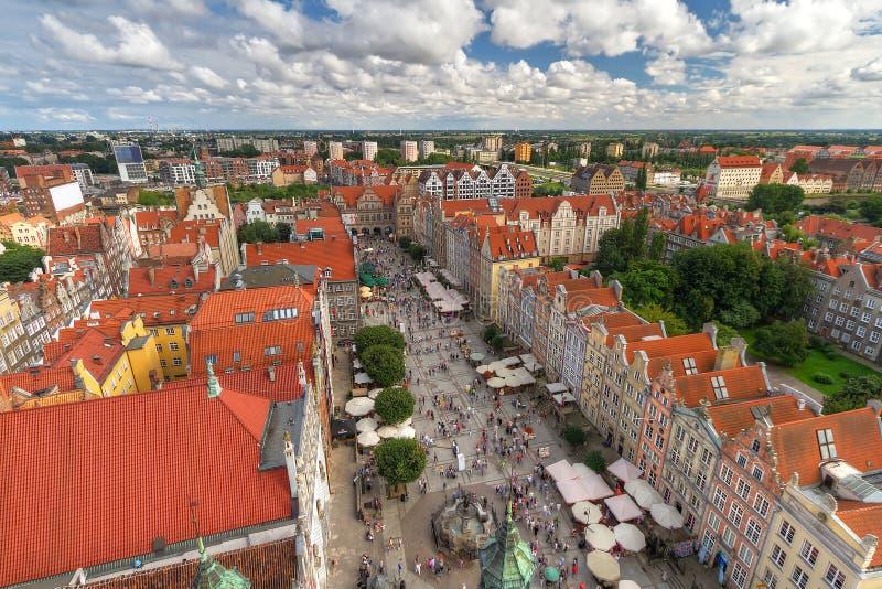 Mercado longo de Gdansk no tempo de verão imagens de stock royalty free