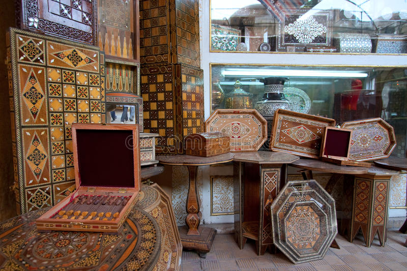 Mercado marroquino, Damasco imagens de stock royalty free