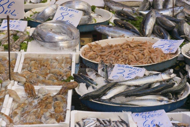 Mercado mediterrâneo do alimento de mar da rua Os peixes frescos, polvo, shripms vendem na rua em Itália, Nápoles com preço marca foto de stock