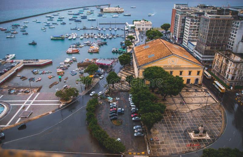 Mercado Modelo in Bahia, Salvador - Brazil. With the view of the bay and the Mercado Modelo royalty free stock image