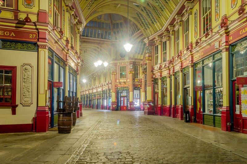 Mercado na noite, Londres de Leadenhall, imagens de stock royalty free