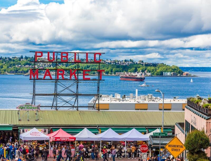 Mercado p?blico en Seattle fotografía de archivo