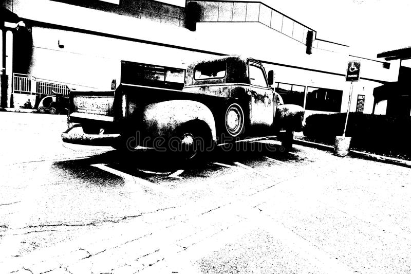 Mercado parqueado camión del vintage fotos de archivo