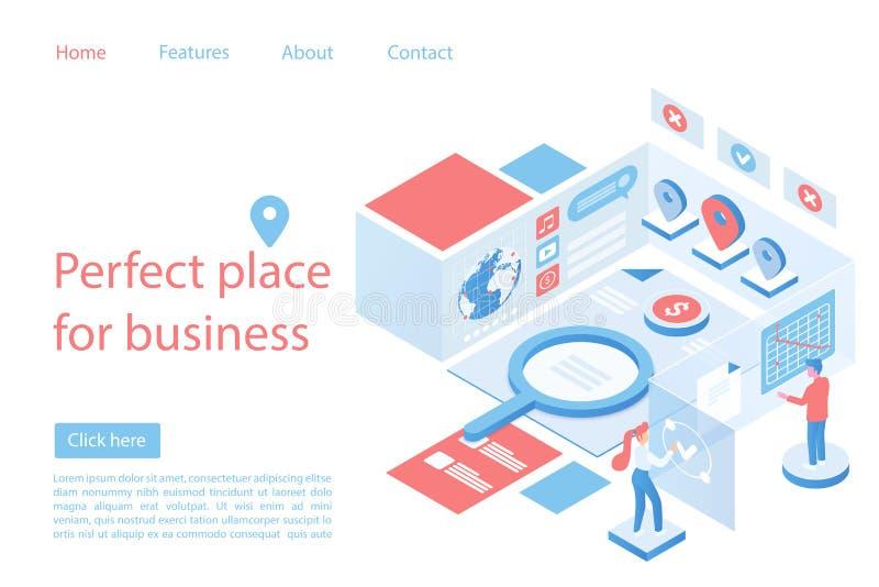 Mercado, plantilla isométrica del vector del lugar del negocio de la página perfecta del aterrizaje ilustración del vector