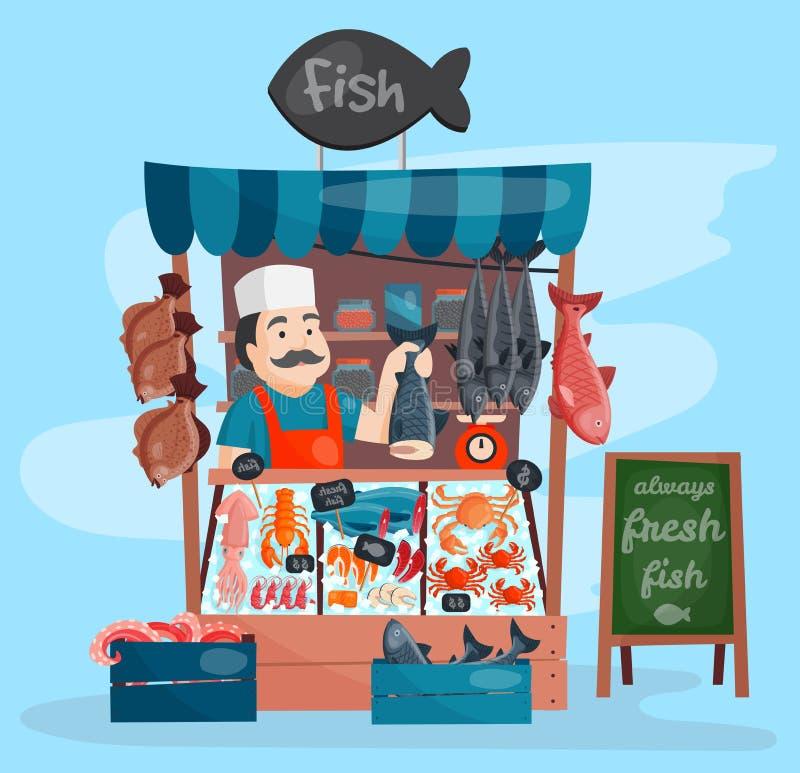 Mercado retro de la tienda de la tienda de la calle del quiosco del vector de la tienda de los pescados con los mariscos de la fr libre illustration