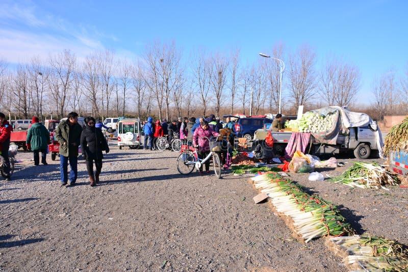 Mercado rural de los granjeros en Pekín fotos de archivo