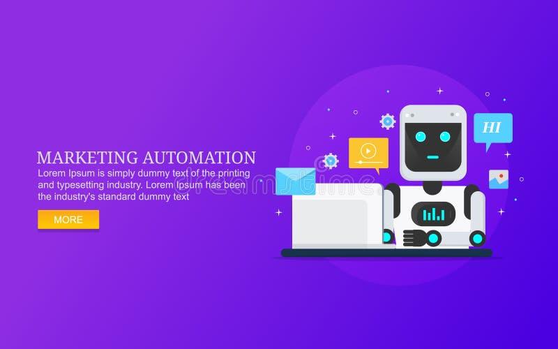 Mercado satisfeito automatizado, índices de funcionamento do robô para a audiência ilustração royalty free