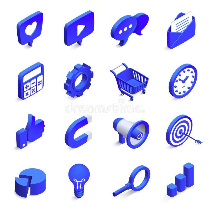 Mercado social isométrico Mercados de entrada e de partida, ímã do dinheiro e como o ícone vetor da rede da comunidade 3d ilustração do vetor