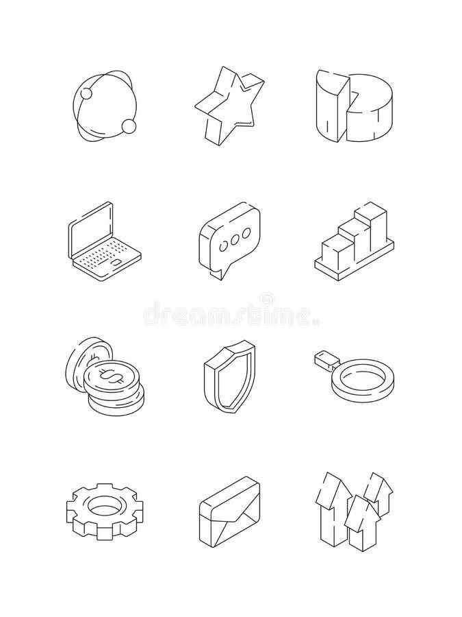 Mercado social isométrico Os gráficos dos símbolos dos meios da Web como corações da relação enviam a linha fina ícone ilustração royalty free