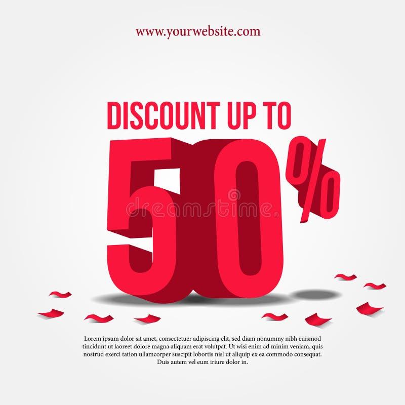 Mercado super da promoção de venda com ilustração do texto 3D vermelho fotografia de stock royalty free