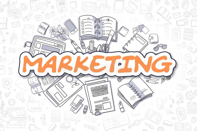 Mercado - texto da laranja da garatuja Conceito do negócio ilustração royalty free