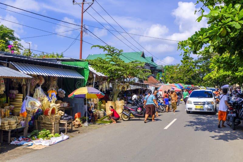 Mercado tradicional em Mataram fotografia de stock