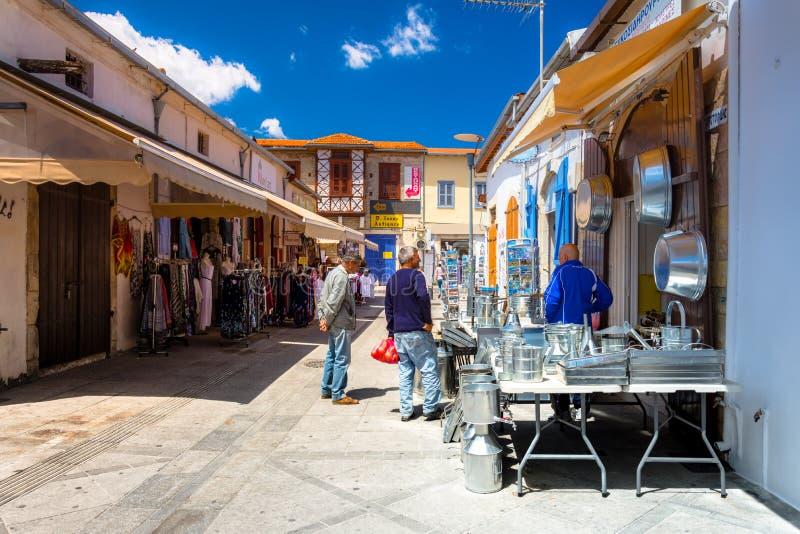 Mercado tradicional en el centro de la ciudad vieja de Limassol, Chipre fotos de archivo libres de regalías