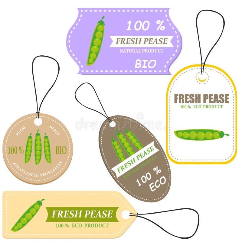 Mercado vegetal da etiqueta e da exploração agrícola ilustração do vetor