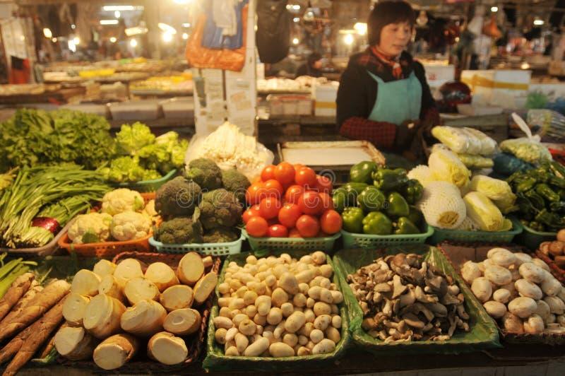 Mercado vegetal em China foto de stock