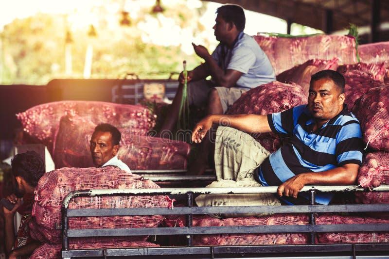 Mercado vegetal Trabajadores en un camión imagen de archivo