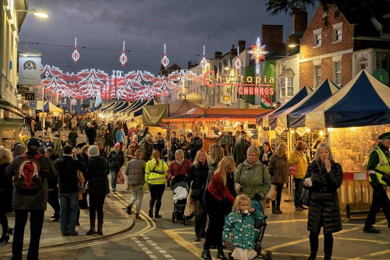 Mercado victoriano de la Navidad, Stratford sobre Avon, diciembre de 2018 fotografía de archivo libre de regalías