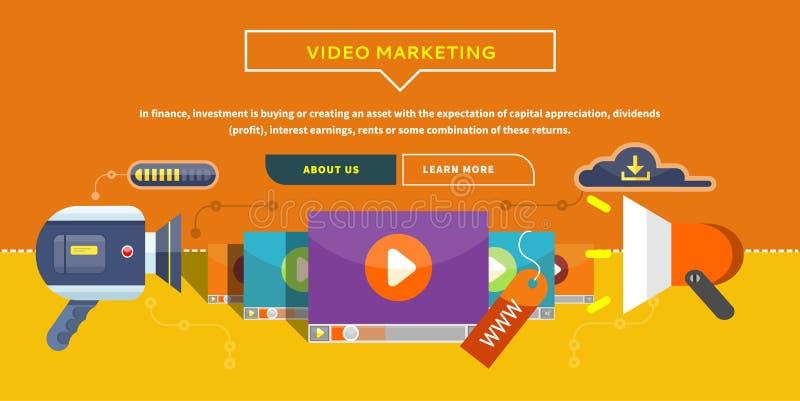 Mercado video Conceito para a bandeira, apresentação ilustração stock