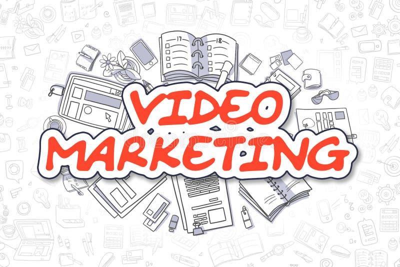 Mercado video - palavra do vermelho dos desenhos animados Conceito do negócio ilustração do vetor