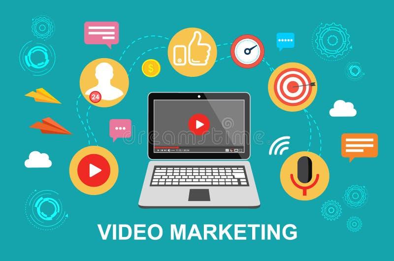 Mercado video Vídeo, conferência webinar, em linha Ilustração do vetor ilustração royalty free