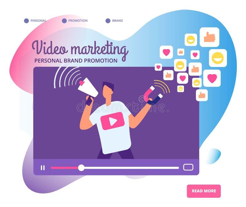 Mercado video viral Promoção pessoal do tipo, uma comunicação social da rede e vetor do mercado dos vídeos dos influencers ilustração do vetor