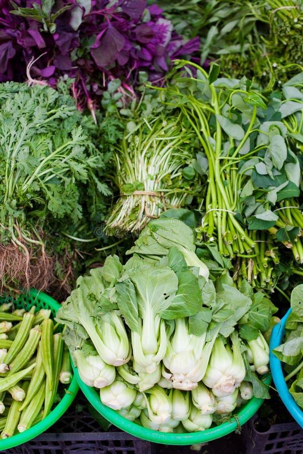 Mercado vietnamiano da exploração agrícola dos vegetais verdes sortidos fotografia de stock royalty free