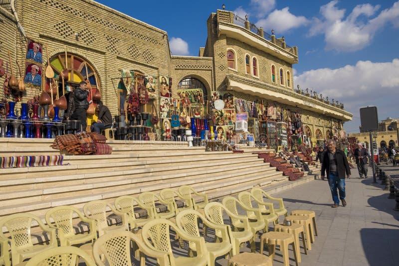 Mercado y castillo antiguos en Erbil, Iraq imagenes de archivo