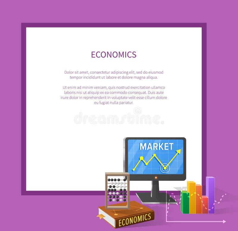 Mercado y ejemplo económico de la historieta con el texto ilustración del vector