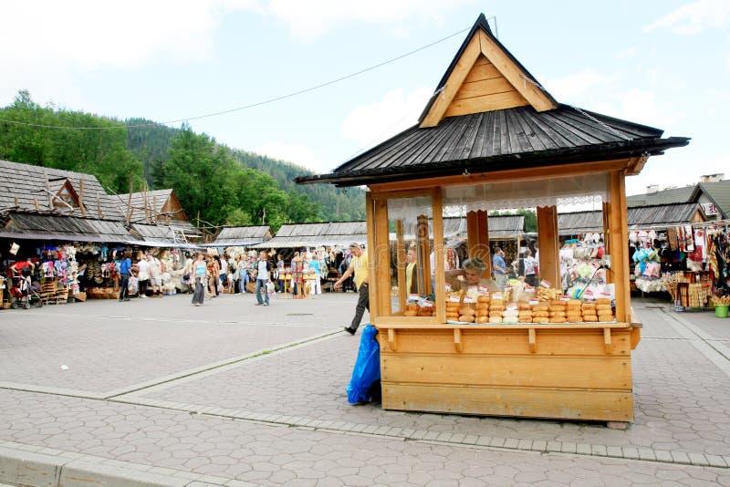 Mercado Zakopane do ar aberto, Poland imagem de stock royalty free