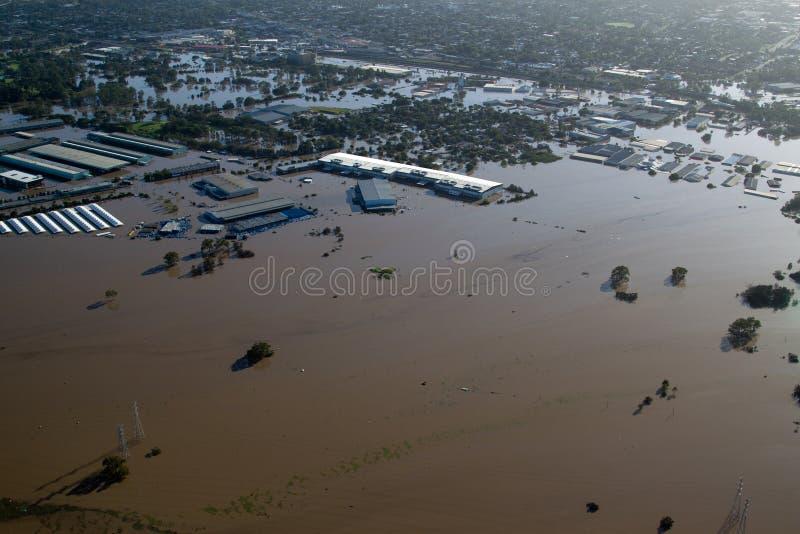 Mercados de Rocklea da opinião aérea da inundação 2011 de Brisbane & fotos de stock royalty free