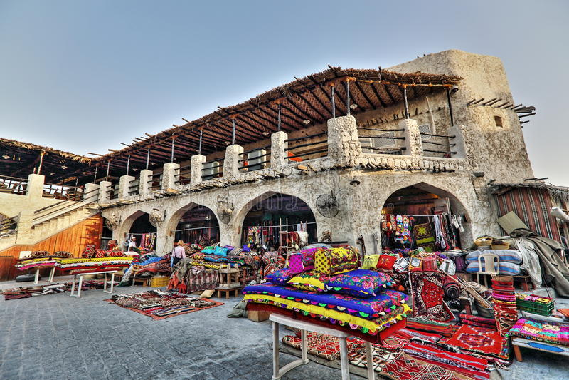 Mercados de Souq em Doha fotos de stock