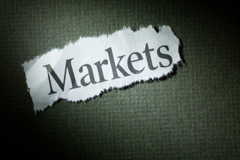 Mercados del título imagen de archivo libre de regalías