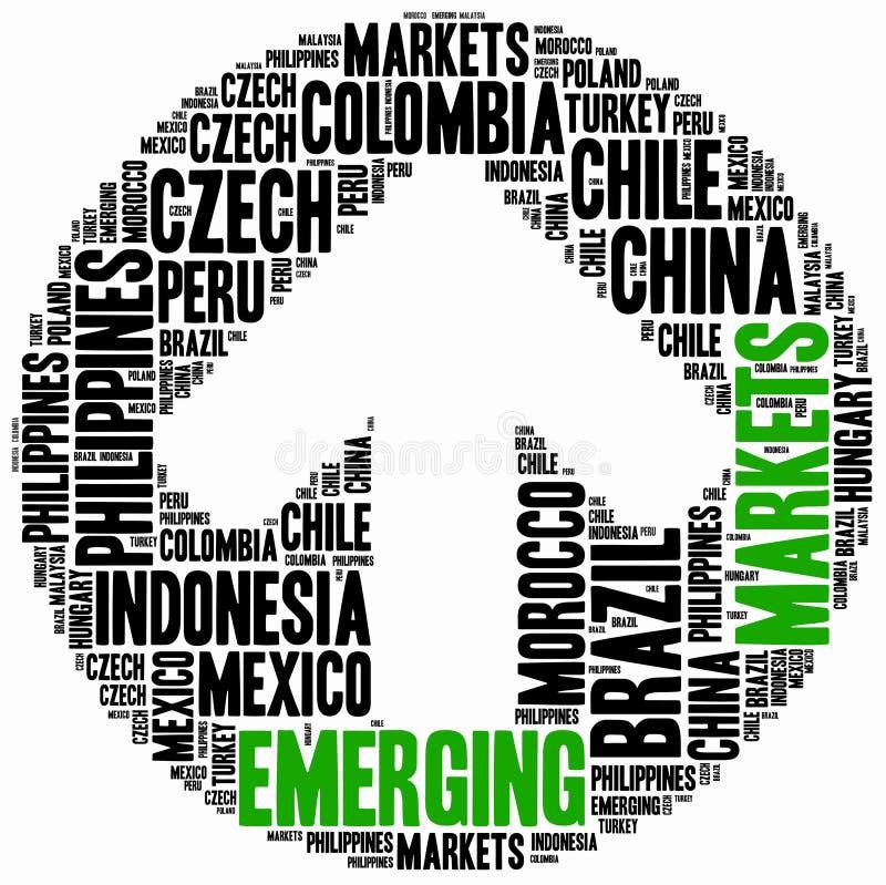 Mercados emergentes Ejemplo de la nube de la palabra ilustración del vector