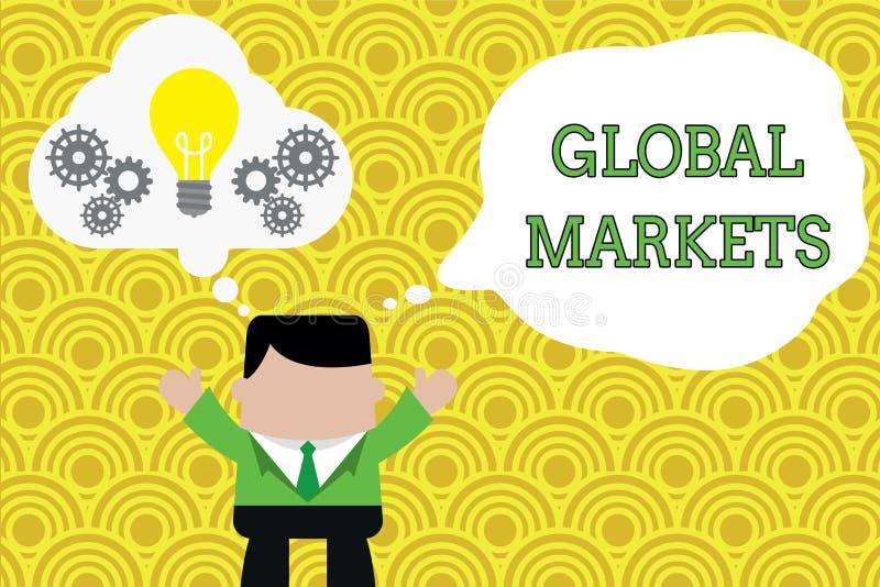 Mercados globais do texto da escrita da palavra Conceito do neg?cio para o produtos e servi?os de troca em todos os pa?ses do mun ilustração do vetor